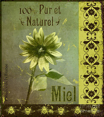 Digital Sunflower Mixed Media - French Honey Sign by WickedRefined Designs