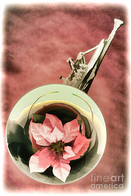 Painting - French Horn And Red Flower Painting In Color 3435.02 by M K  Miller