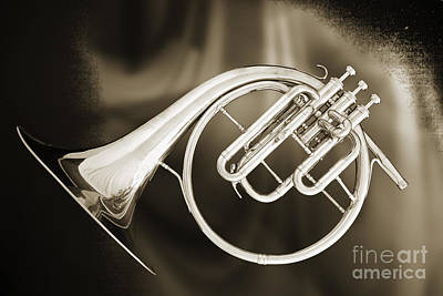 Photograph - French Horn Antique Classic In A Sepia Print 3210.01 by M K  Miller