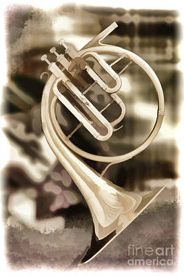 French Horn Photograph - French Horn Antique Classic Painting In Color 3428.02 by M K  Miller
