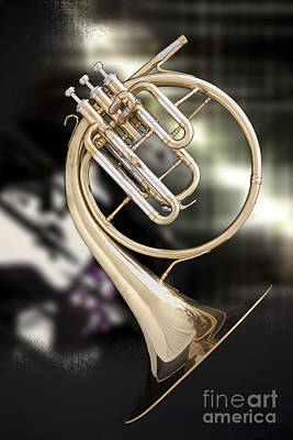 Photograph - French Horn Antique Classic Photograph In Color 3427.02 by M K Miller