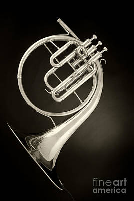 French Horn Photograph - French Horn Antique Classic Photograph In Sepia 3431.01 by M K  Miller