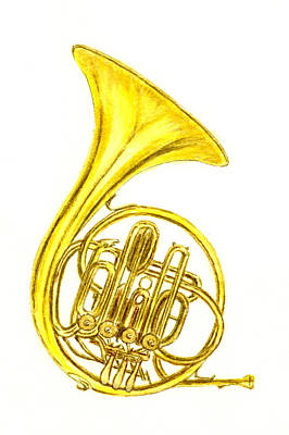Musical Instruments Painting - French Horn by Michael Vigliotti