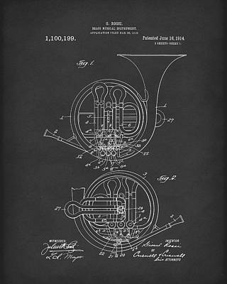 Drawing - French Horn Musical Instrument 1914 Patent Art Black by Prior Art Design