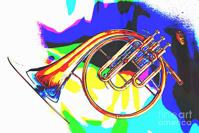 Painting - French Horn Painting Antique Classic In Color 3426.02 by M K  Miller