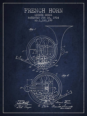 French Horn Drawing - French Horn Patent From 1914 - Blue by Aged Pixel
