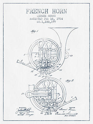 Ink Drawing Digital Art - French Horn Patent From 1914 - Blue Ink by Aged Pixel