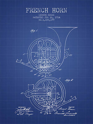 French Horn Patent From 1914 - Blueprint Art Print by Aged Pixel