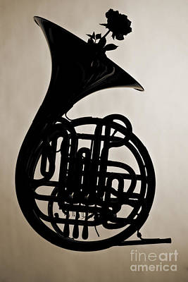 Photograph - French Horn Silhouette Photograph In Sepia 3432.01 by M K  Miller