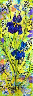 Decoupage Photograph - French Irises Left Side by Carla Parris