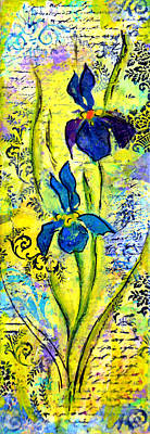 Decoupage Photograph - French Irises Right Side by Carla Parris