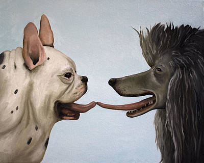 Puppy Lover Painting - French Kiss by Leah Saulnier The Painting Maniac