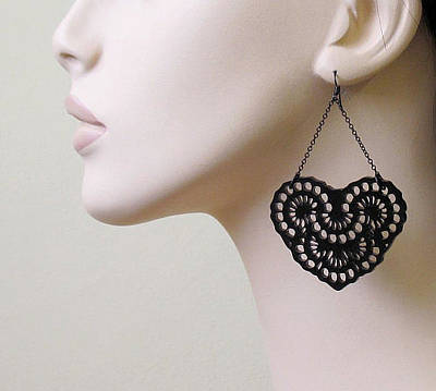 Perspex Jewelry Jewelry - French Lace -romantic Heart Chandelier Earrings by Rony Bank