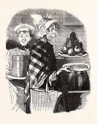 French Lady And A Cook Bring The Desserts Art Print