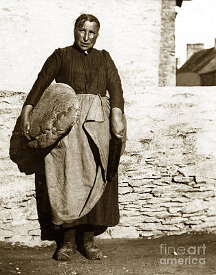 Photograph - French Lady With A Very Large Bread France 1900 by California Views Mr Pat Hathaway Archives