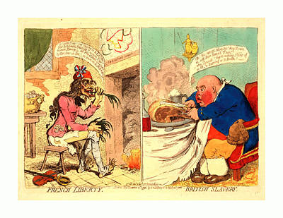 Onion Drawing - French Liberty  British Slavery, Gillray by Litz Collection