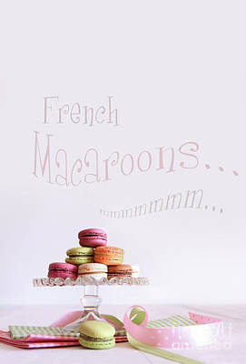 French Macaroons On Dessert Tray Art Print by Sandra Cunningham