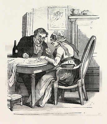 Cartoonist Drawing - French Man And Woman Playing Cards, Europe by French School