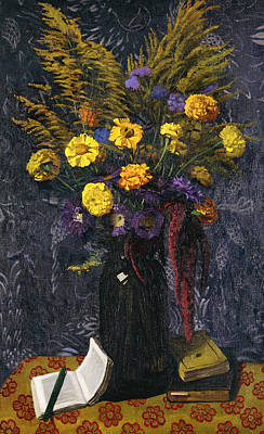 Gold Cloth Painting - French Marigold Purple Daisies And Golden Sheaves by Felix Edouard Vallotton