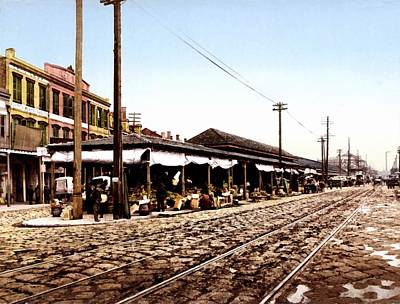 Cobblestone Streets Digital Art - French Market New Orleans 1900 by Unknown