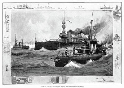 Drawing - French Naval Ships, 1902 by Granger