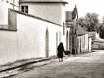 Photograph - French Nun Walking Home by Menega Sabidussi
