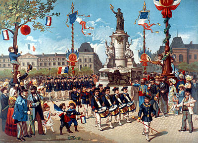 Bastille Day Celebration Painting - French Parade, 1883 by Granger