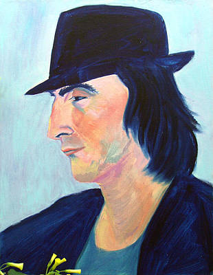 Painting - French Photographer With Black Hat And Yellow Flowers by Asha Carolyn Young