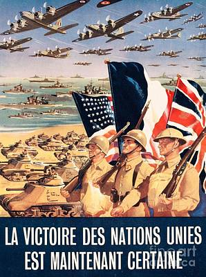 Triumph Drawing - French Propaganda Poster Published In Algeria From World War II 1943 by Anonymous