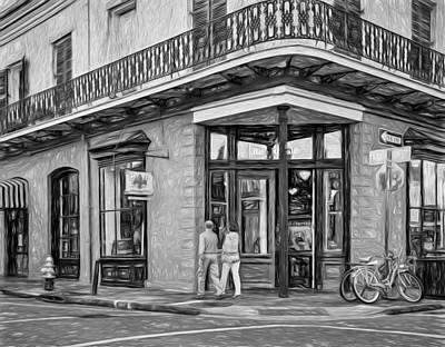 French Quarter Art - Paint Bw Art Print by Steve Harrington
