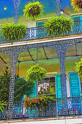 Digital Art - French Quarter Balcony 1 by David Doucot
