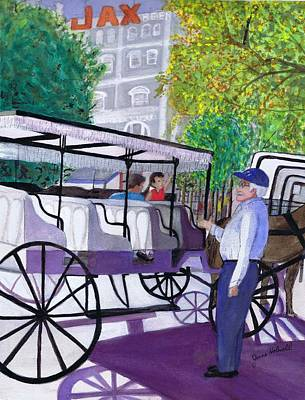 Painting - French Quarter Buggy Tour by June Holwell