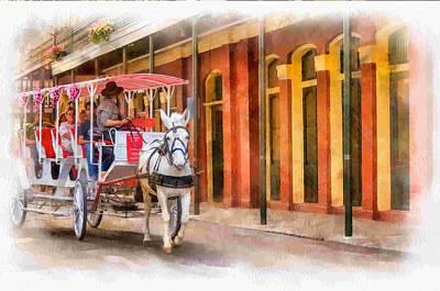 French Door Digital Art - French Quarter Carriage Ride 3 by Steve Harrington