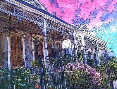 Garden District Painting - French Quarter Houses 377 by John Boles