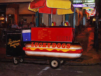 Lucky Dogs Wall Art - Painting - French Quarter Late At Night by Dominic Piperata