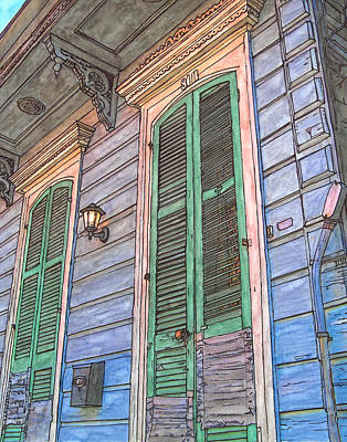 Voodoo Painting - French Quarter Shutters 368 by John Boles