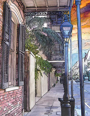 French Quarter Sidewalk 443 Art Print by John Boles