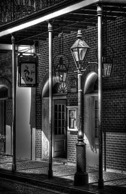 Black And White Photograph - French Quarter Street Lamp In Black And White by Greg and Chrystal Mimbs