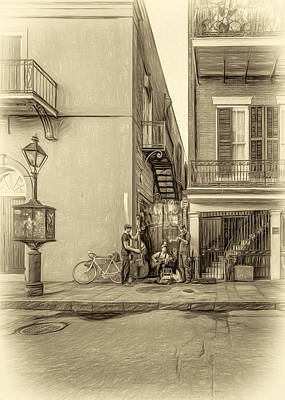 Street Musicians Digital Art - French Quarter Trio - Paint Sepia by Steve Harrington