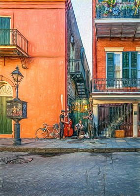 Street Musicians Digital Art - French Quarter Trio - Paint by Steve Harrington