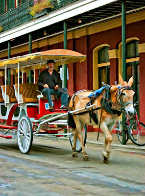 Carriage Photograph - French Quarter Wheels Oil by Steve Harrington
