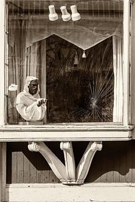 French Quarter Window Display Sepia Art Print