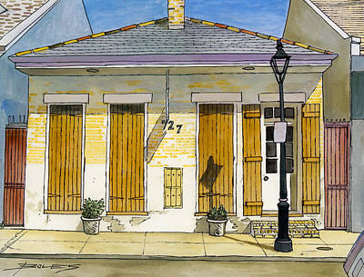 French Quarter Yellow Brick House 367 Art Print by John Boles