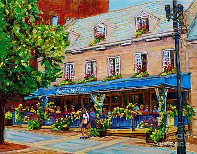 Quebec Streets Painting - French Restaurant Jardin Nelson Paris Style Bistro Place Jacques Cartier Terrace Garden C Spandau   by Carole Spandau