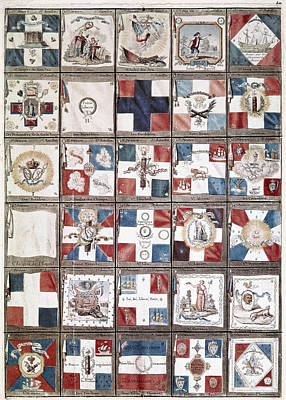 Notre Dame Cathedral Painting - French Revolution Flags by Granger