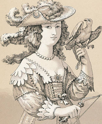 Falconry Drawing - French Seventeenth Century Costume by French School