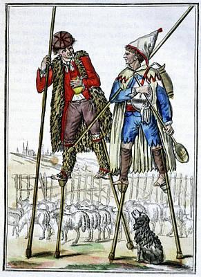 French Shepherds On Stilts Art Print by Cci Archives