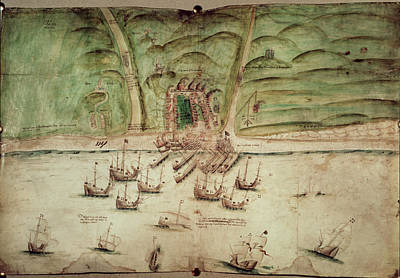 French Ships Attacking Brighton Art Print by British Library