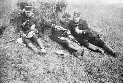 French Soldiers At Lunch Art Print