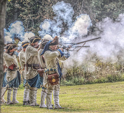 French Soldiers Volley Fire Art Print by Randy Steele